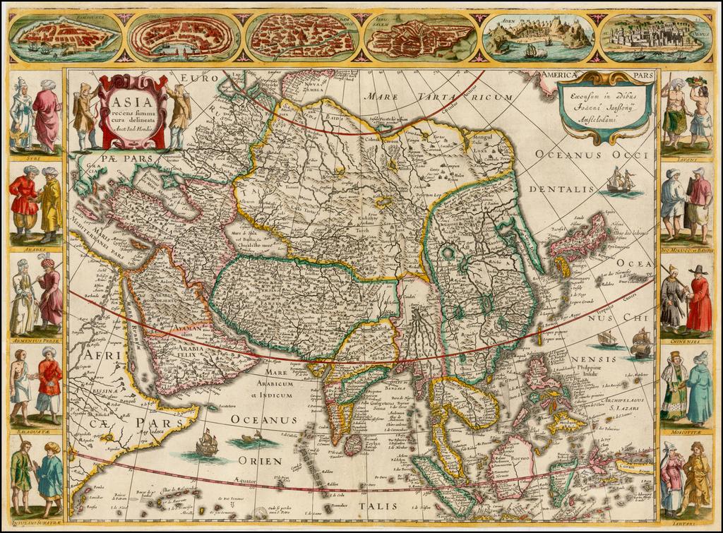Asia recens summa cura delineata Auct. Iud: Hondio By Jan Jansson