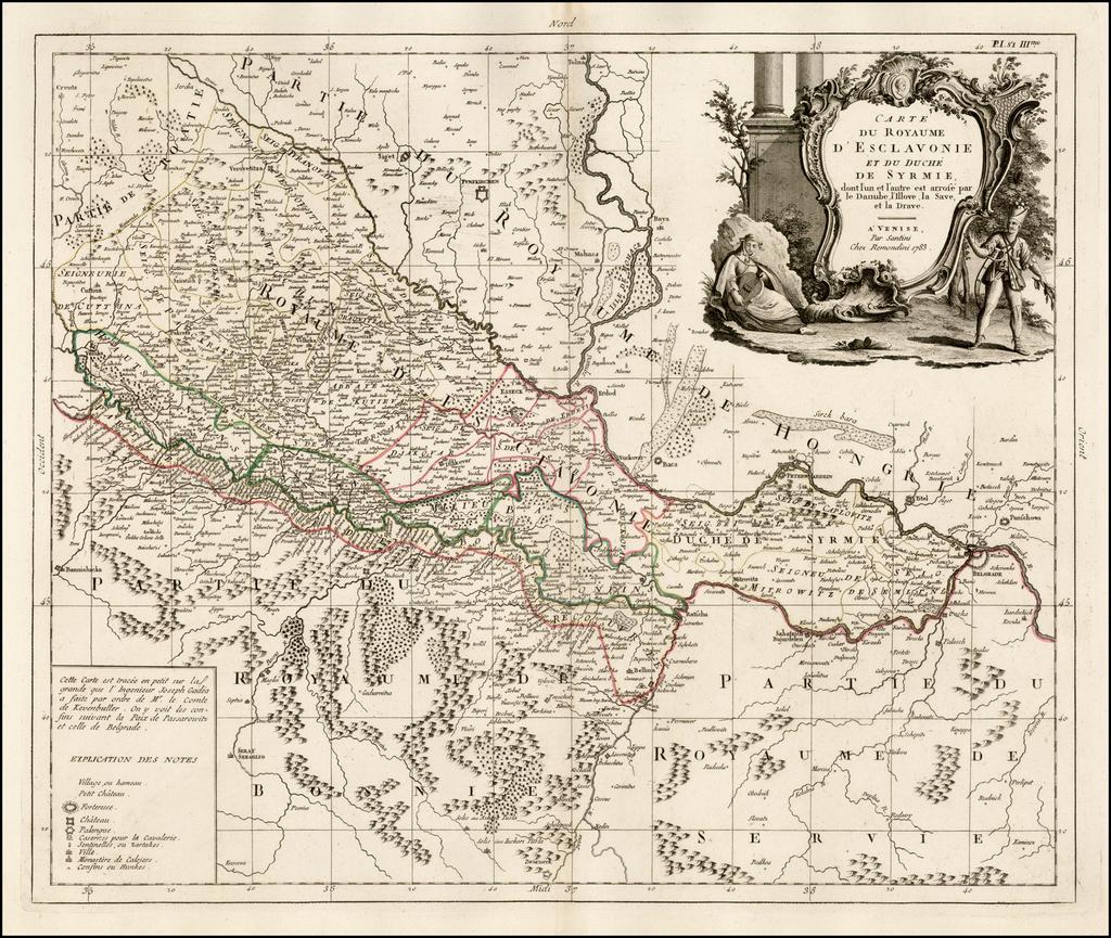 Carte Du Royaume D'Esclavonie et Du Duche De Syrmie, dont l'un et l'autre est arrose par le Danube, l'Illove, La Save, et la Drave . . . 1783 By Paolo Santini