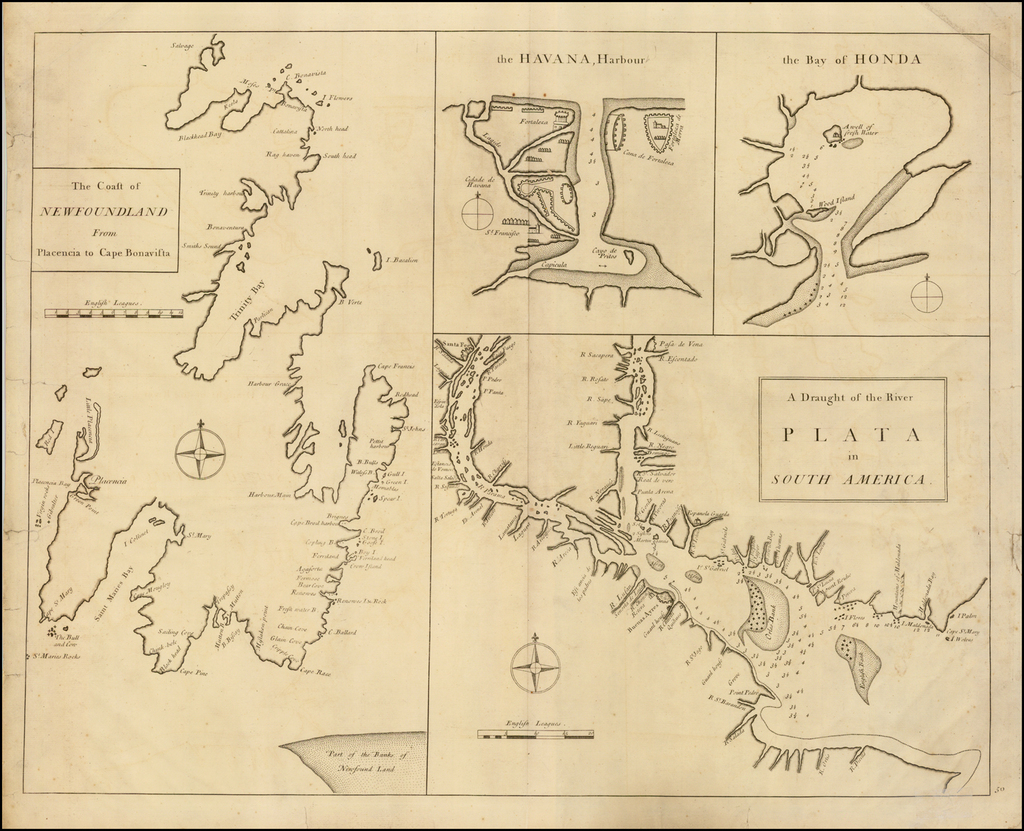 The Coast of Newfoundland From Plancentia to Cape Bonavista [and] A Draught of the River Plata in South America [and] Havana, Harbour [and] the Bay of Honda By John Senex / Edmund Halley / Nathaniel Cutler