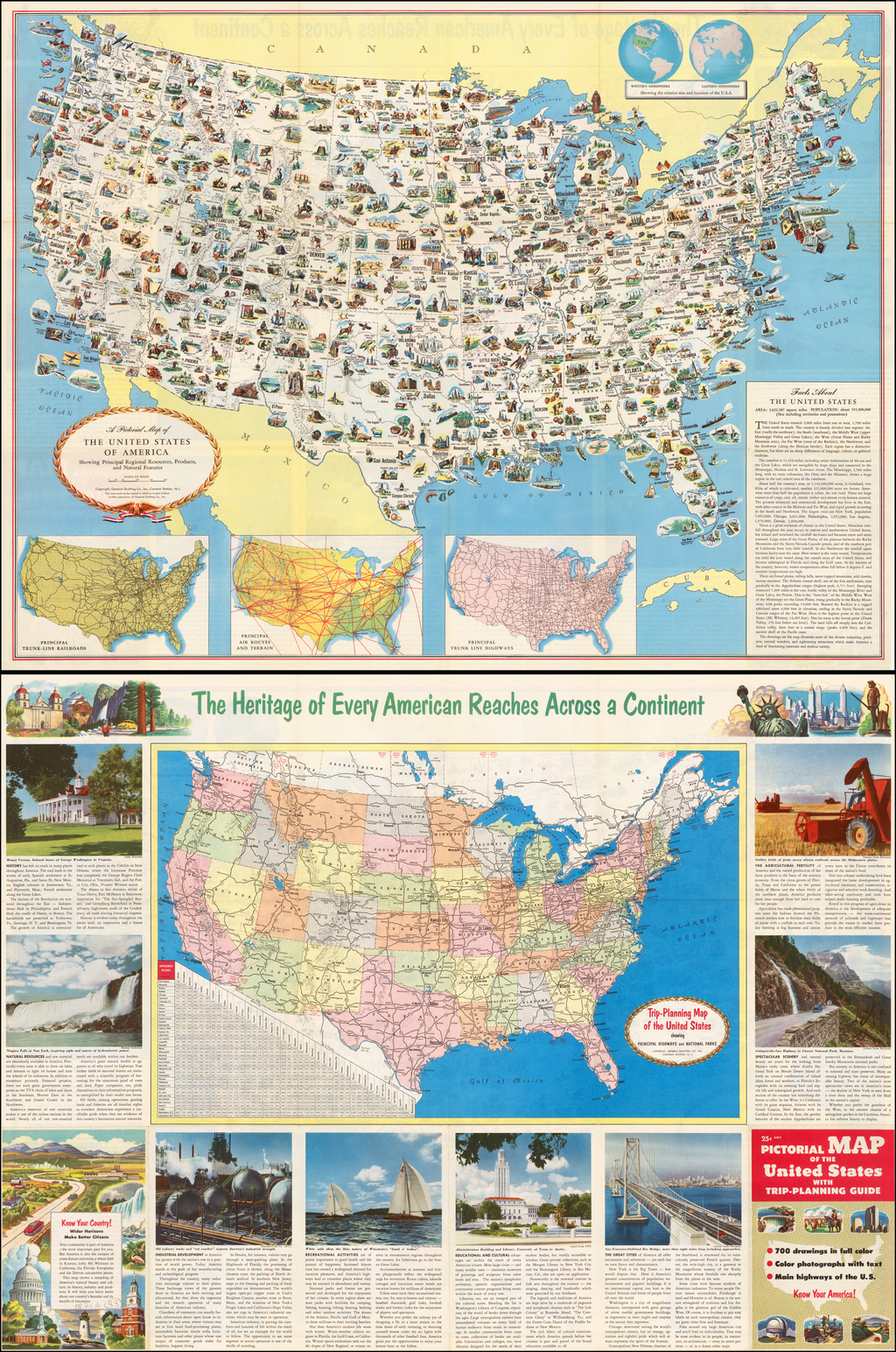 Picture of: A Pictorial Map Of The United States Of America Showing Principal Regional Resources Products And Natural Features Barry Lawrence Ruderman Antique Maps Inc