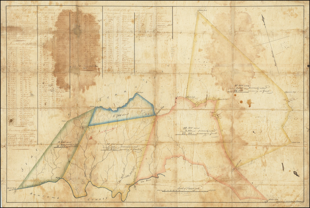 [Burke County, North Carolina]  Plan of the 16,000, 22,680, 8,760, 99,200 & 59,000 acre Tracts in Burke County No Ca. By Robert H.B. Brazier