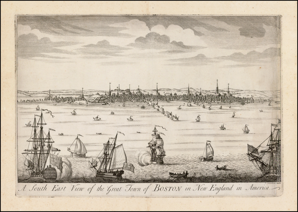 A South East View of the Great Town of Boston in New England in America  (The Second Printed View of Boston!) By John Carwitham