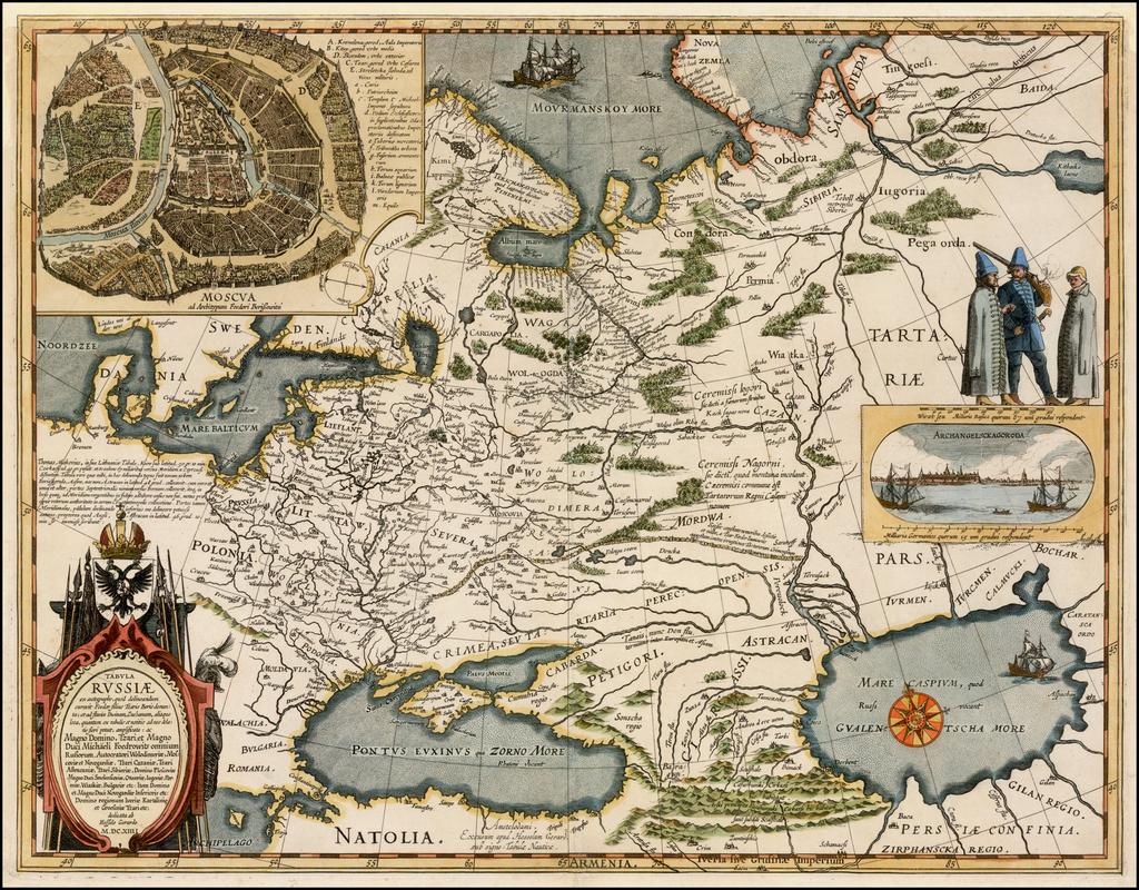 Tabula Russiae ex autographo, quod delineandum curavit Foedor filius Tzaris Borois desumta . . . MDCXIIII By Hessel Gerritsz