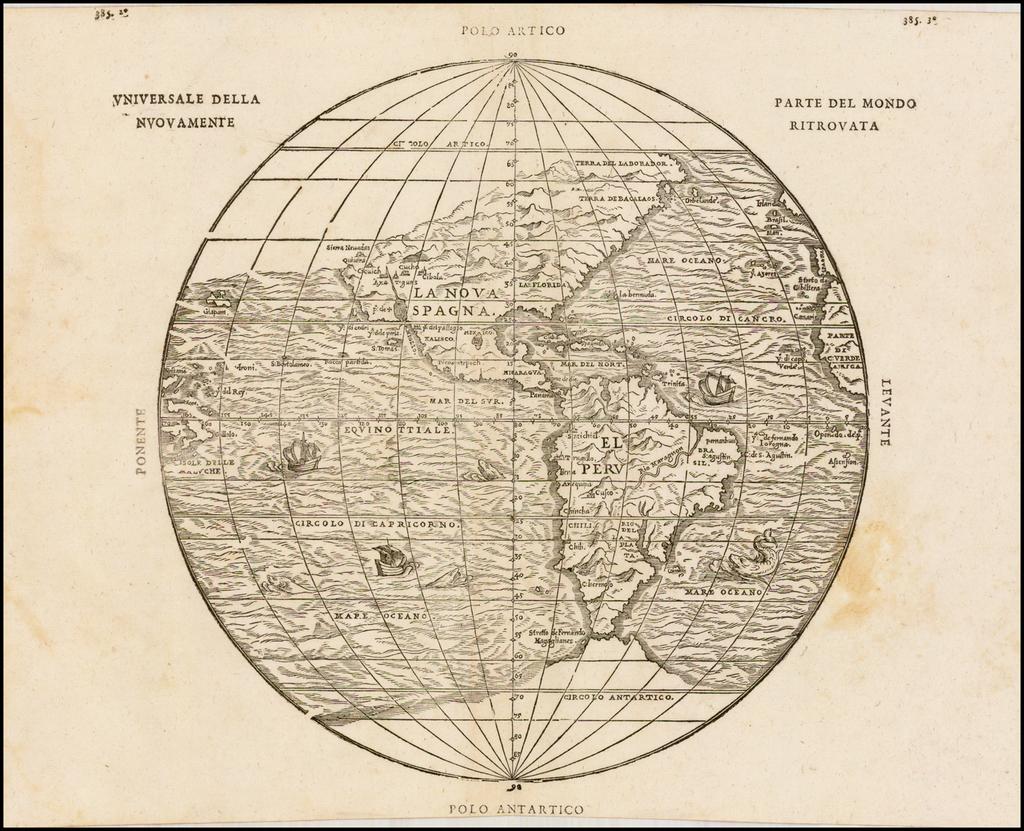 Universale Della Nuovamente Parte Del Mondo Ritrovata By Giovanni Battista Ramusio