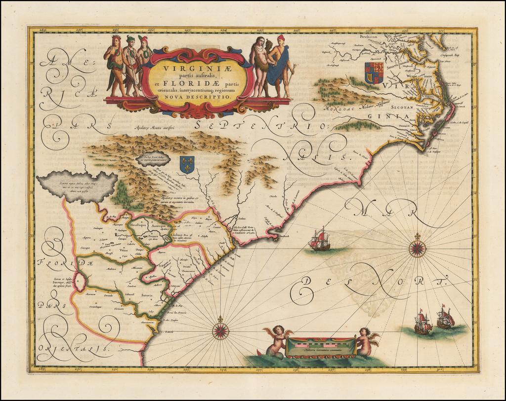 Virginiae Partis australis, et Floridae partis orientalis, interjacentiumqus regionum Nova Descriptio    By Jan Jansson