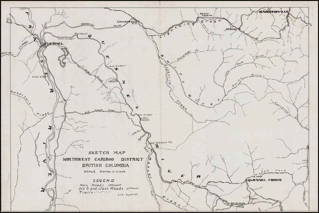 Sketch Map Northwest Cariboo District British Columbia.  August 24, 1915. By Anonymous
