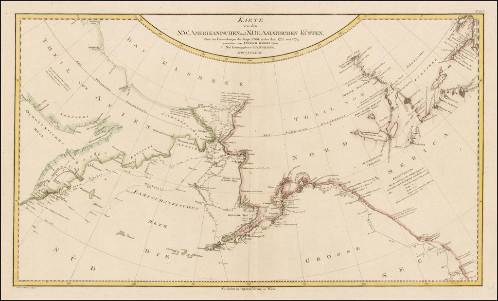 Karte von den N.W. Amerikanischen und N.Oe. Asiatischen Kusten, nach den Untersuchungen des Kapit: Cook in…1778 und 1779 entworfen von Heinrich Roberts Lieut: . . . MDCCLXXVIII By Franz Anton Schraembl