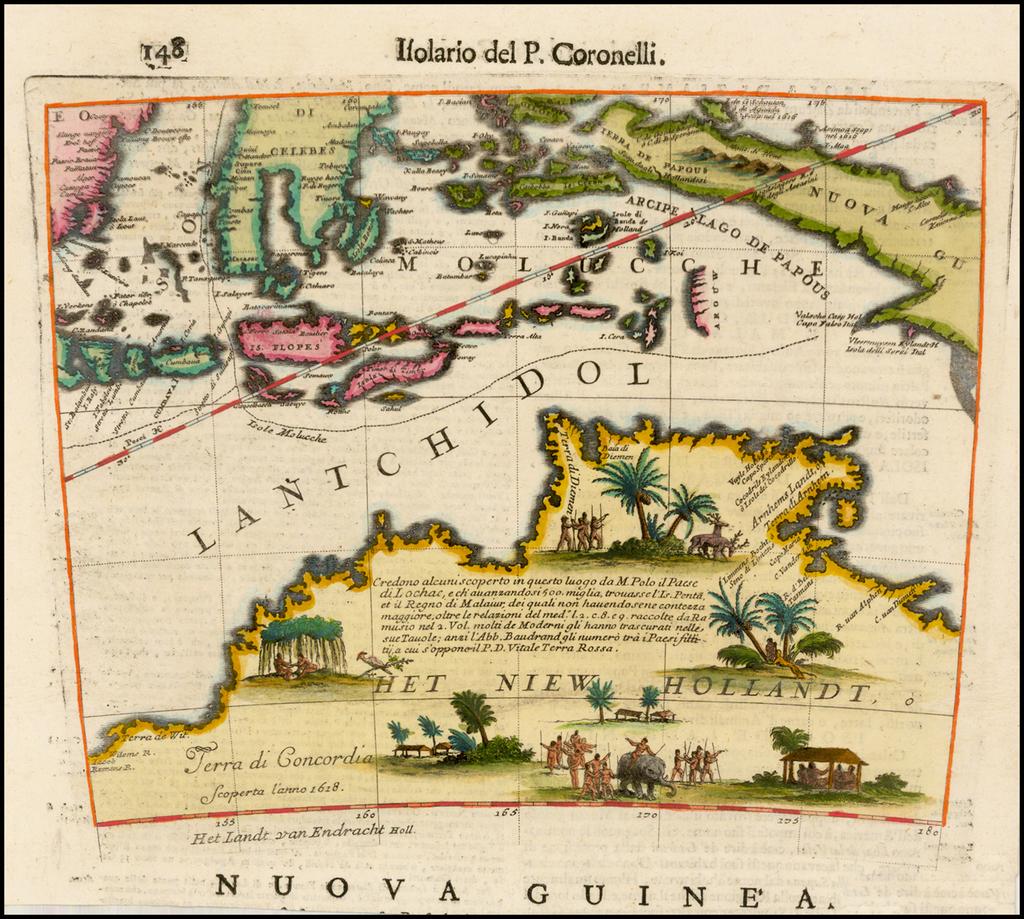 Het Niew Hollandt [Australia & Southern Moluccas, Papua New Guinea etc. ]   By Vincenzo Maria Coronelli