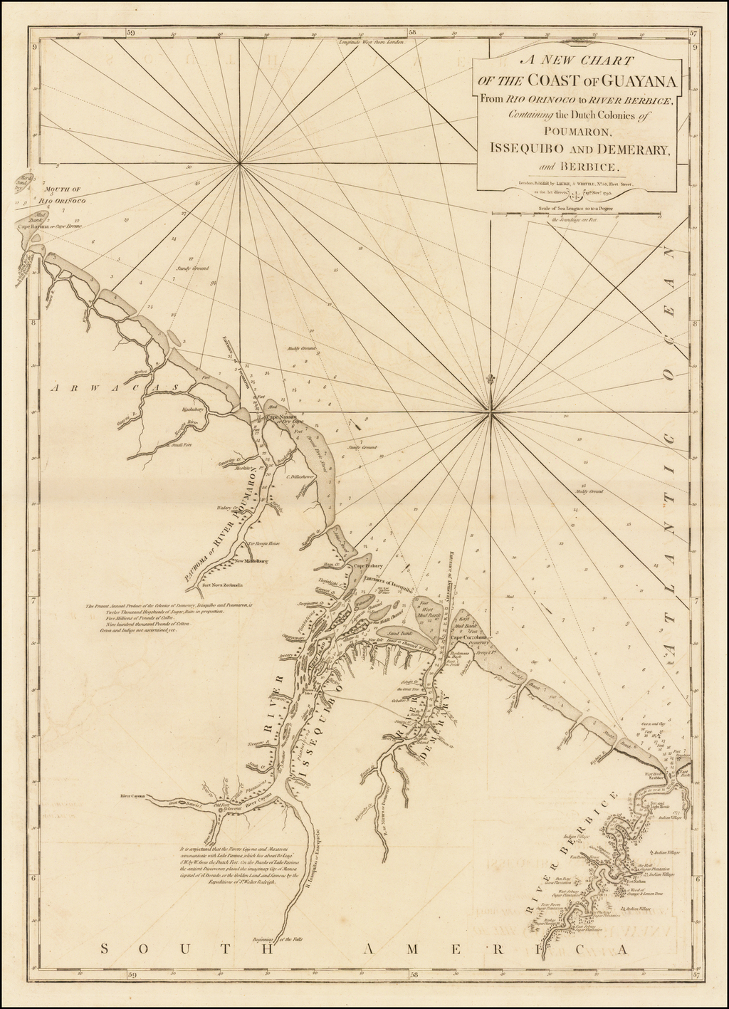 A New Chart of the Coast of Guayana From Rio Orinoco to River Berbice, Containing the Dutch Colonies of Pourmaron, Issequibo and Demerary, and Berbice . . . 1795 By Richard Holmes Laurie  &  James Whittle