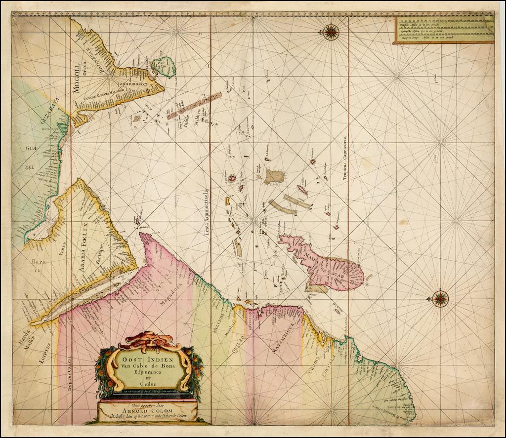 Oost Indien Van Cabo de Bona Esperanca tot Ceilon Uyt gegeven door Arnold Colom . . .    By Arnold Colom