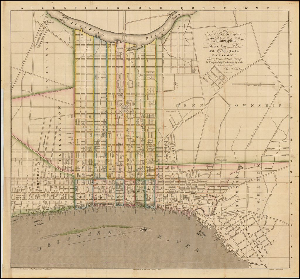To The Citizens of Philadelphia, This New Plan of the City and its Environs.  Taken from Actual Survey Is Respectfully Dedicated by their Humble Servt.  John A. Paxton . . .   By John Paxton