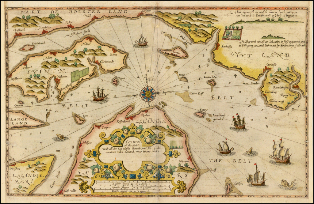 A Carde of the Beldt wit hall the Sea coastes, Bounds, and Site of the countries called Laland, unto Sevens head. By Lucas Janszoon Waghenaer