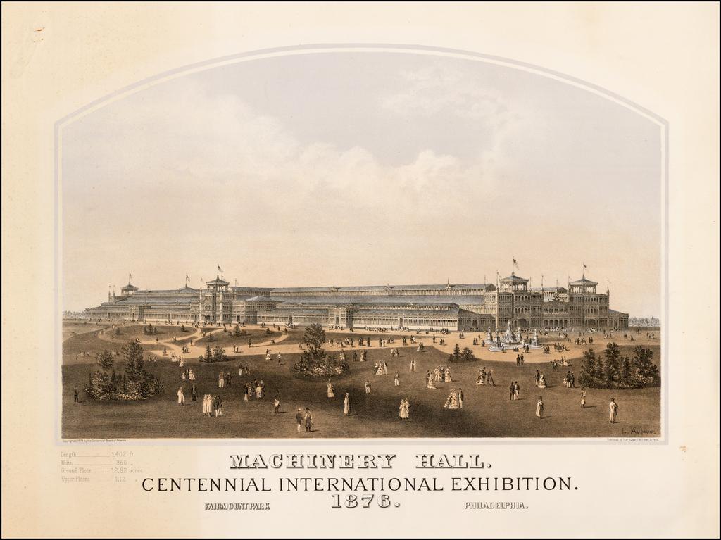 Machinery Hall.  Centennial International Exhibition.  Fairmount Park Philadelphia.  1876. By Louis Aubrun