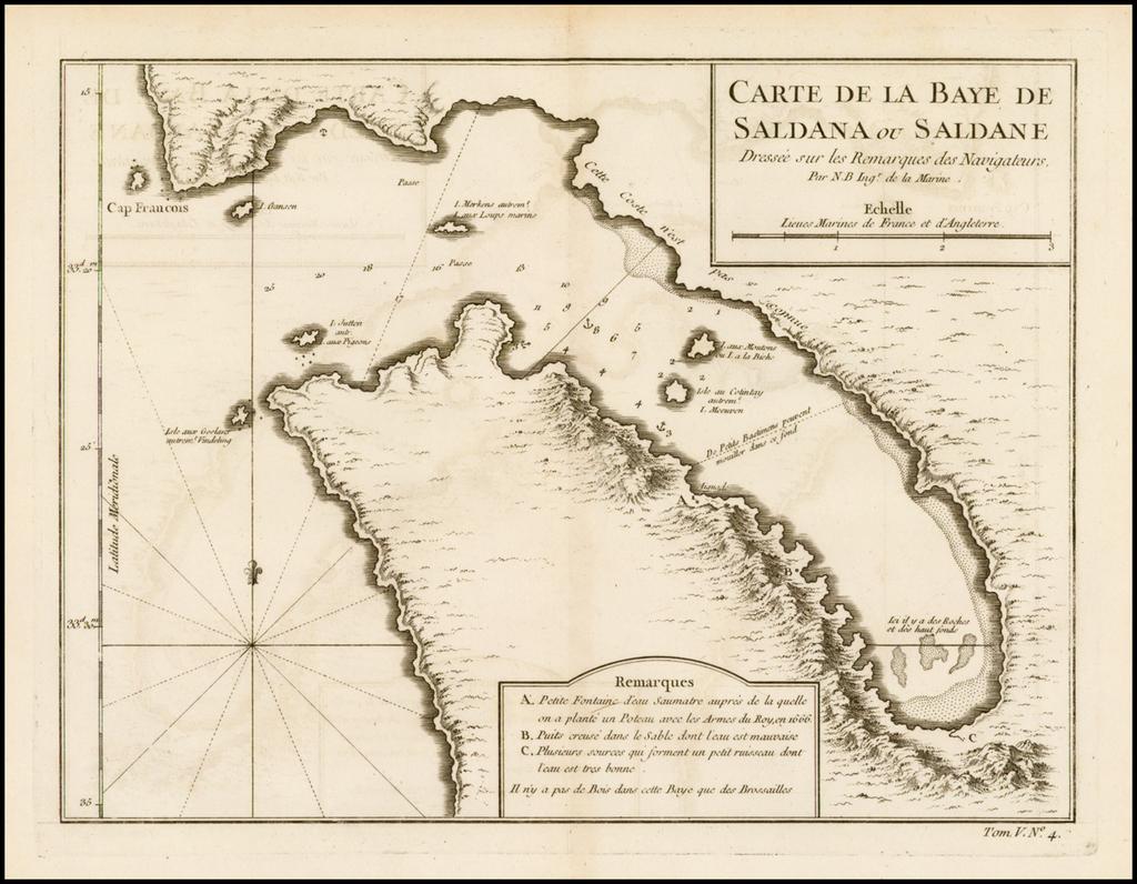 Carte de la Baye de Saldana ou Saldane Dressee sur les Remarques de Navigateurs . . . By Jacques Nicolas Bellin