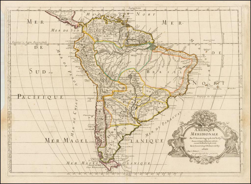 Amerique Meridionale . . . Revue el changee en plusieurs endroits suivant les Memoires les plus recents . . . 1705 By Guillaume Sanson