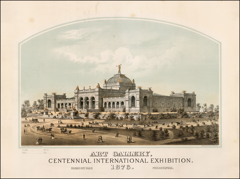 Art Gallery.  Centennial International Exhibition.  Fairmount Park Philadelphia.  1876. By Thomas Hunter
