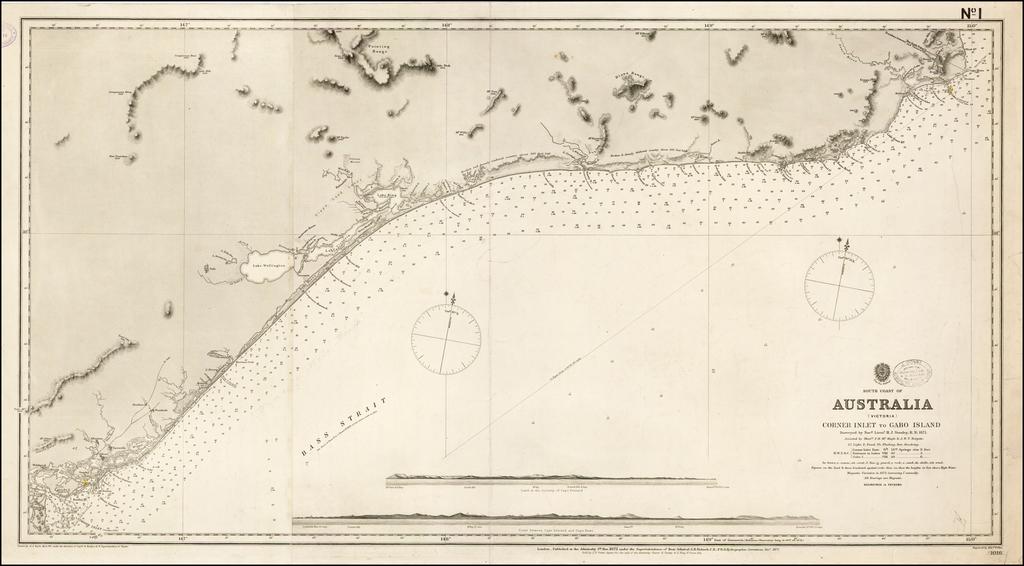 South Coast of Australia (Victoria) Corner Inlet to Gabo Island Surveyed by Navg. Lieutt. H.J. Stanley R.N. 1871 By British Admiralty