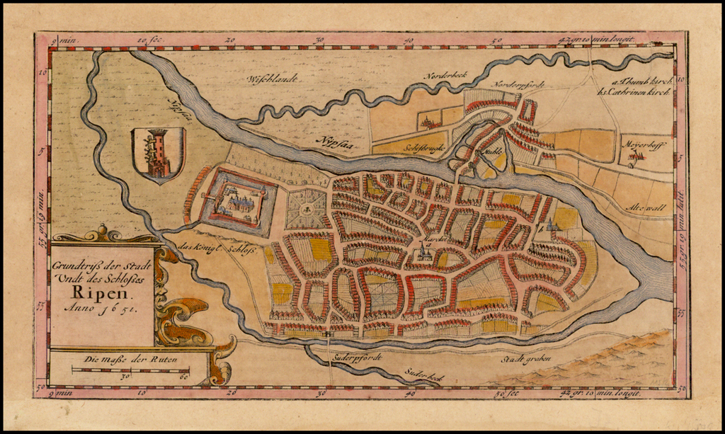 Grundtriss der Stadt Undt des Schlosses Ripen Anno 1651 By Matthias & Nicholas Peters