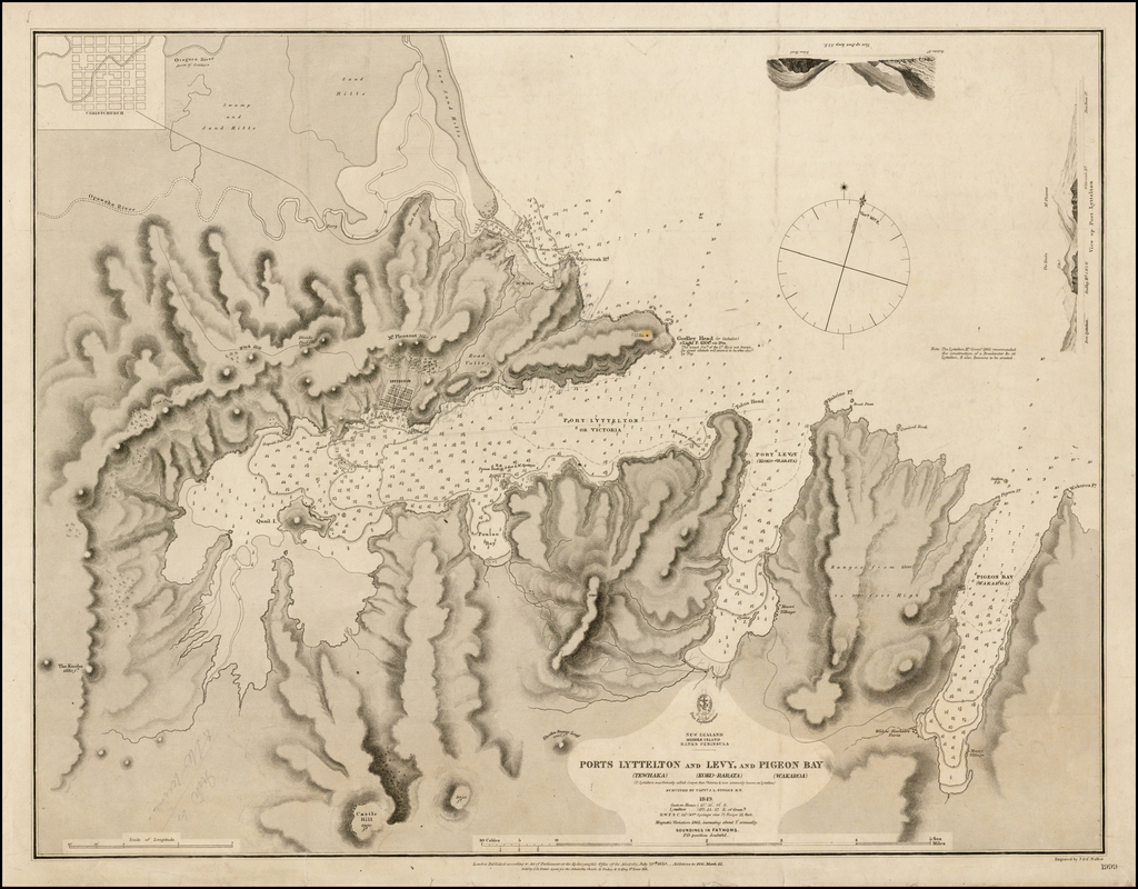 Ports Lyttelton (Tewhaka) and Levy (Koko-Rarat) and Pigeon (Wakaroa)  Survey By Captain J.L. Stokes R.N.  1849  By British Admiralty