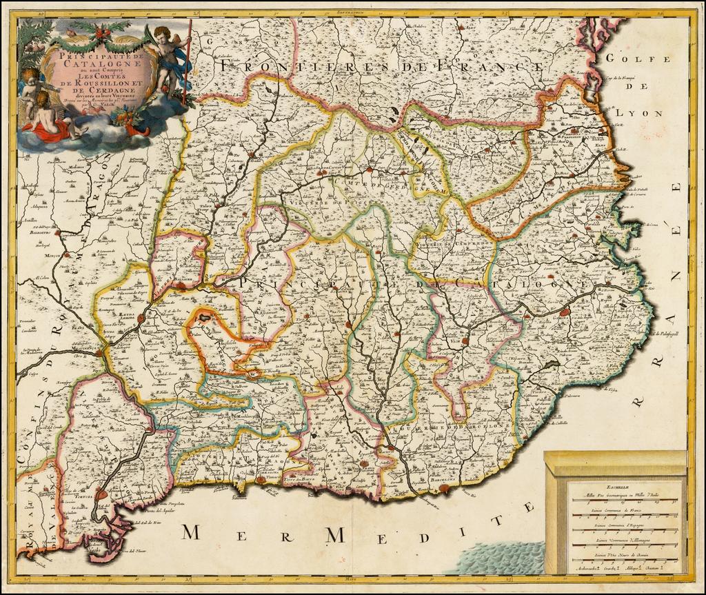 Principaute De Catalogne ou sont compris Les Comtes De Roussillon Et De Cerdagne divisees en leurs Vigueries . . .  By Gerard Valk