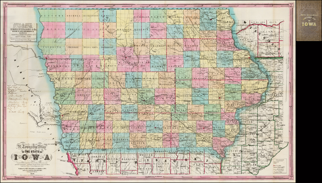 A Township Map of the State of Iowa  Compiled from the United States Surveys, official information and personal reconnaissance, showing the Streams, Roads, Towns, Post Offices, County Seats, Works of Internal Improvements,  &c &c.  . . . 1855 By Henn, Williams & Co.