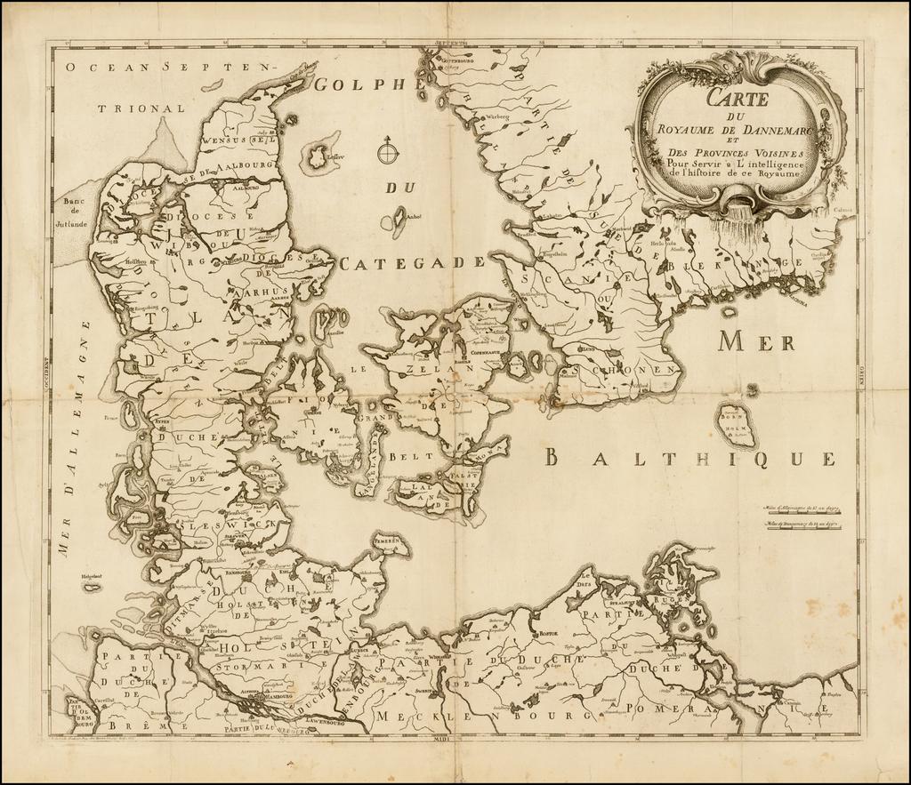 Carte du Royaume de Dannemarc et des Provinces Voisines pour servir a L'Intelligence de l'histoire de ce Royaume By O. H. De Lode