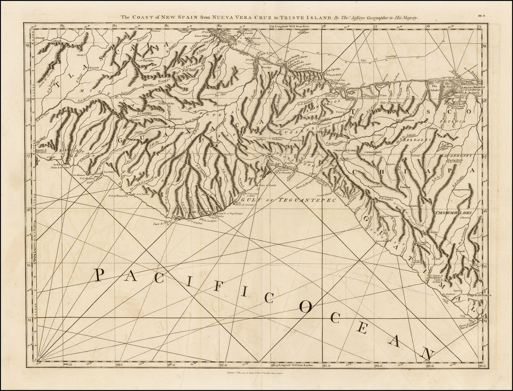 The Coast of New Spain from Neuva Vera Cruz to Triste Island . . . . By Thomas Jefferys