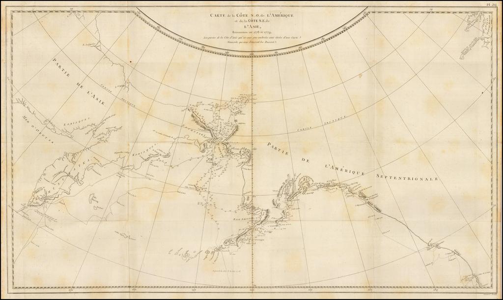 Carte de la Cote N.O. de l'Amerique et de la Cote N.E. de l'Asie, Reconnues en 1778 et 1779.  Les parties de la Cote d'Asie qui ne sont pas ombrees sont tirees d'une Carte Manuscrite que nous donnerent les Russes By Jacques-Francois Benard