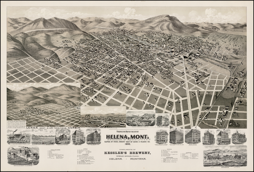 Perspective Map of the City of Helena, Mont. Capital of State, County Seat of Lewis & Clark Co. 1890. By American Publishing Co.