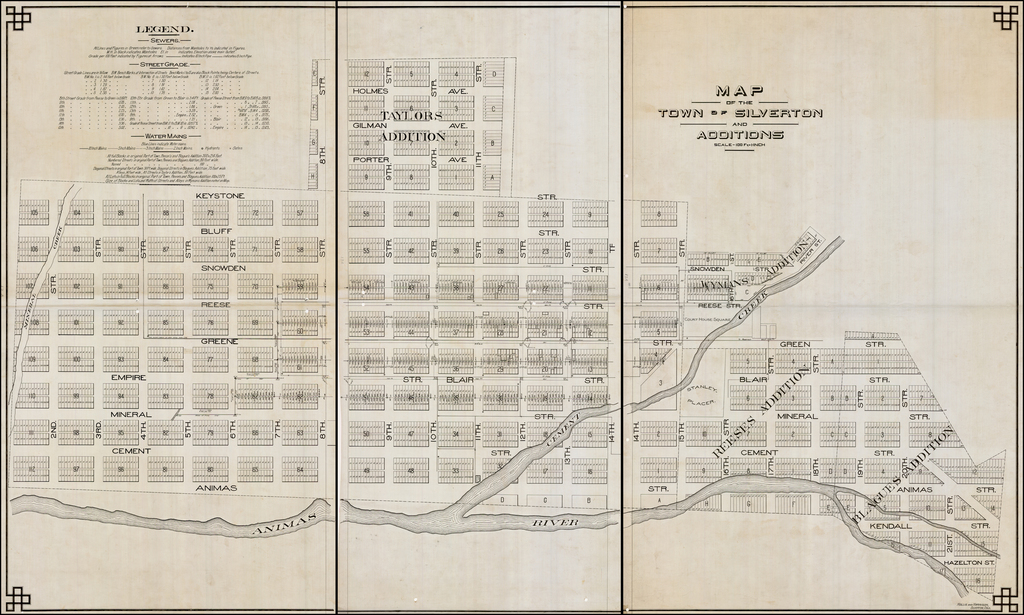 Map of the Town of Silverton and Additions (manuscript) By Hollis & Harrison