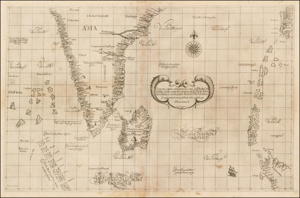 Questa carta contiene la costa dell India Orientale con La costa di Coromandell e L'Isola di Zeilan e finisce con la parte Tramontna di Sumatra By Robert Dudley