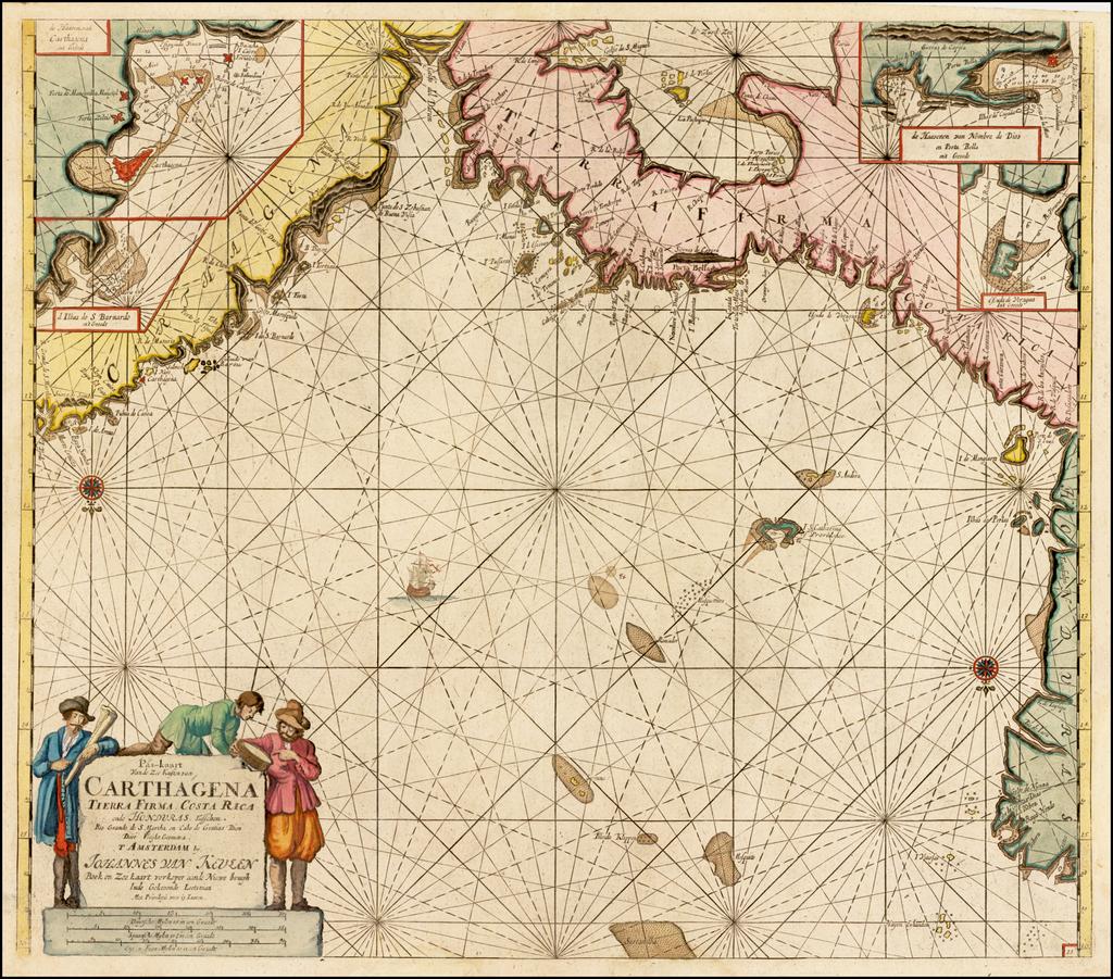 Pas-kaarte Van de Zee Kusten van Carthagena Tierra Firma Costa Rica ende Honduras . . .   By Johannes Van Keulen