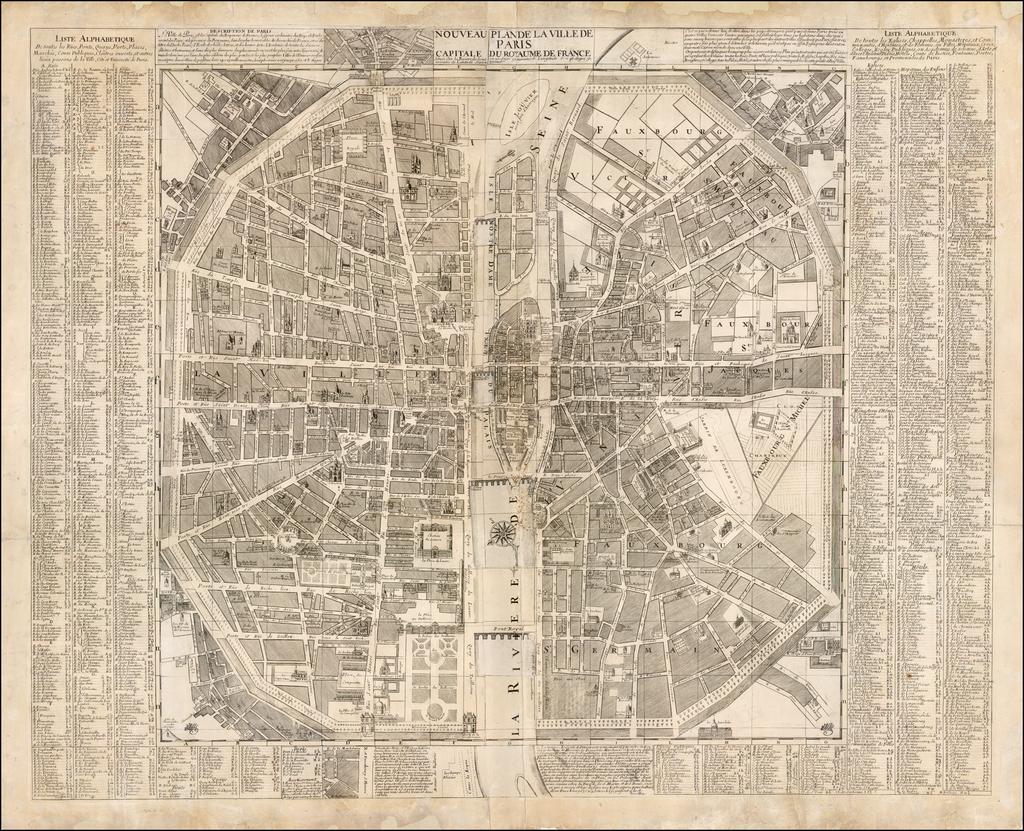 Nouveau Plan de la Bille de Paris, Capitale du Royaume de France, située sur la  Riviere de Seine au 20 degré 30 minutes de Longitude, et au 48 degré 51 minutes de Latitude Septentrionale By G. Monbard