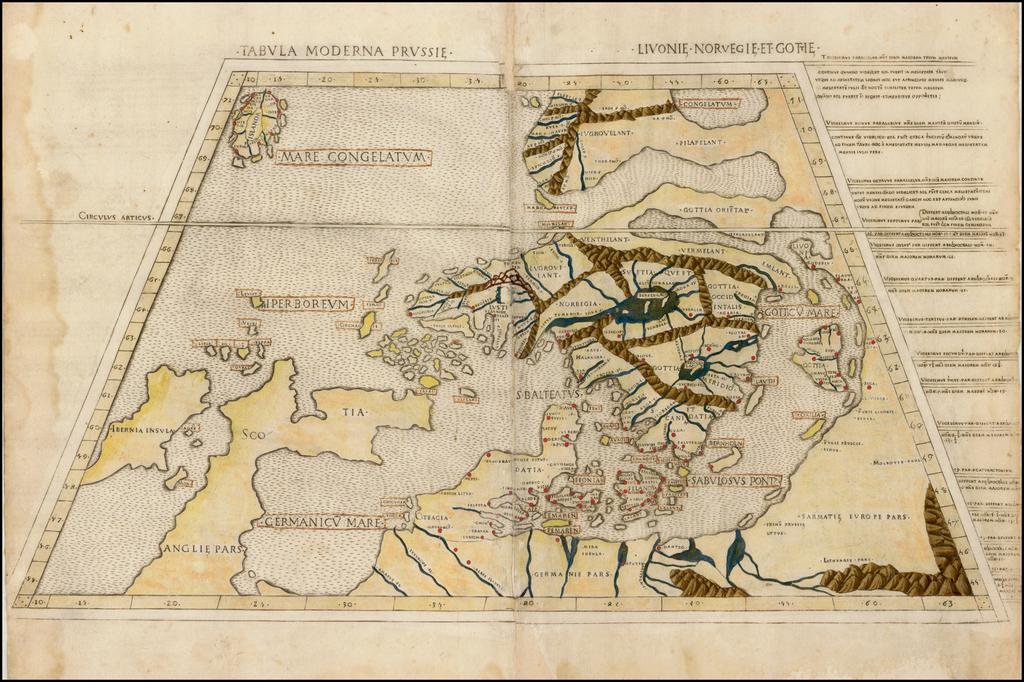 Tabula Moderna Prussie, Livonie, Norvegie et Gottie By Claudius Ptolemy