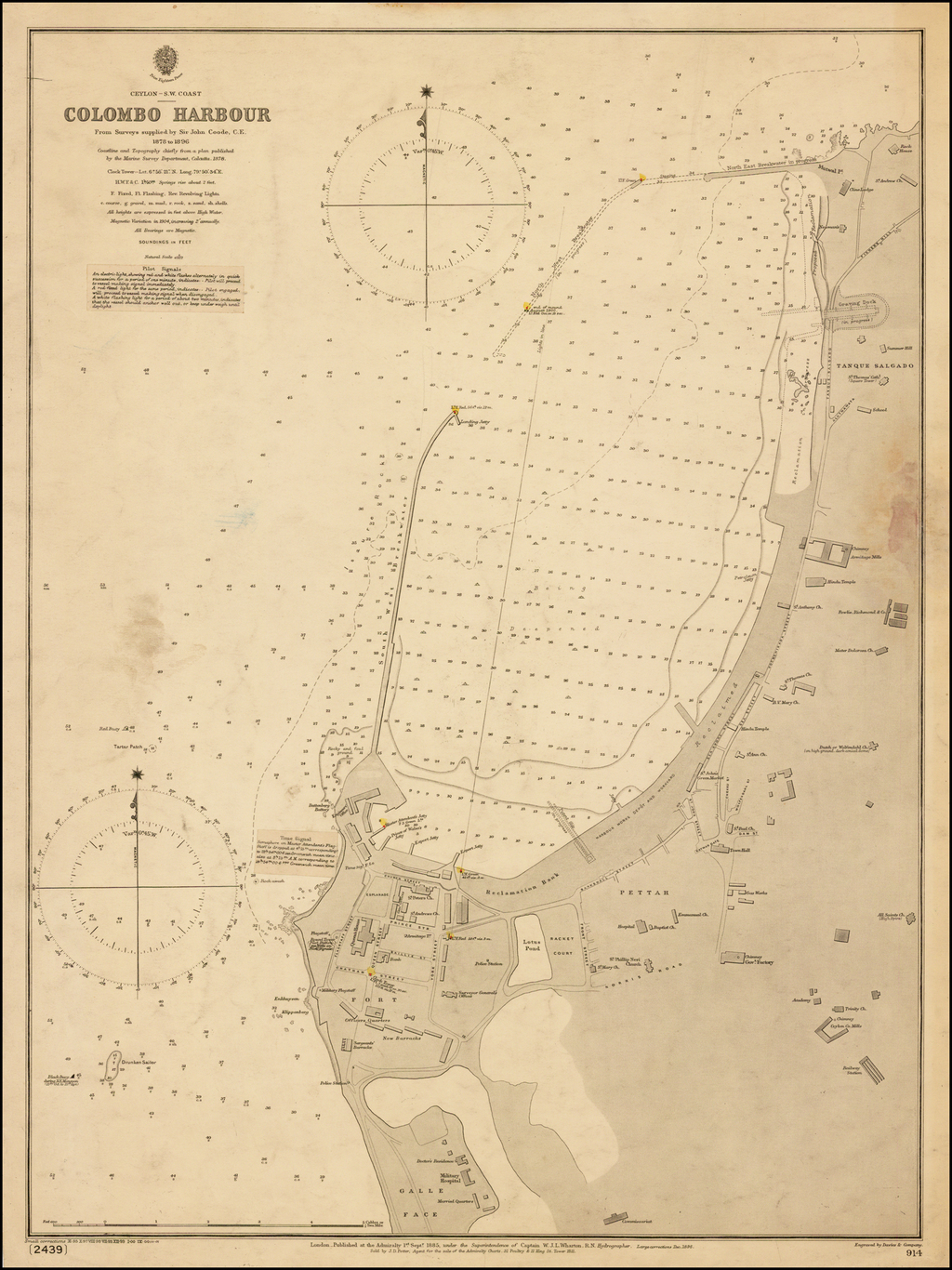Ceylon -- S.W. Coast -- Colombo Harbour From Surveys supplied by Sir. John Coode, C.E. 1878 to 1896.  Coastline and Topography chiefly from a plan publisehd by the Marine Survey Department, Calcutta, 1878. By British Admiralty