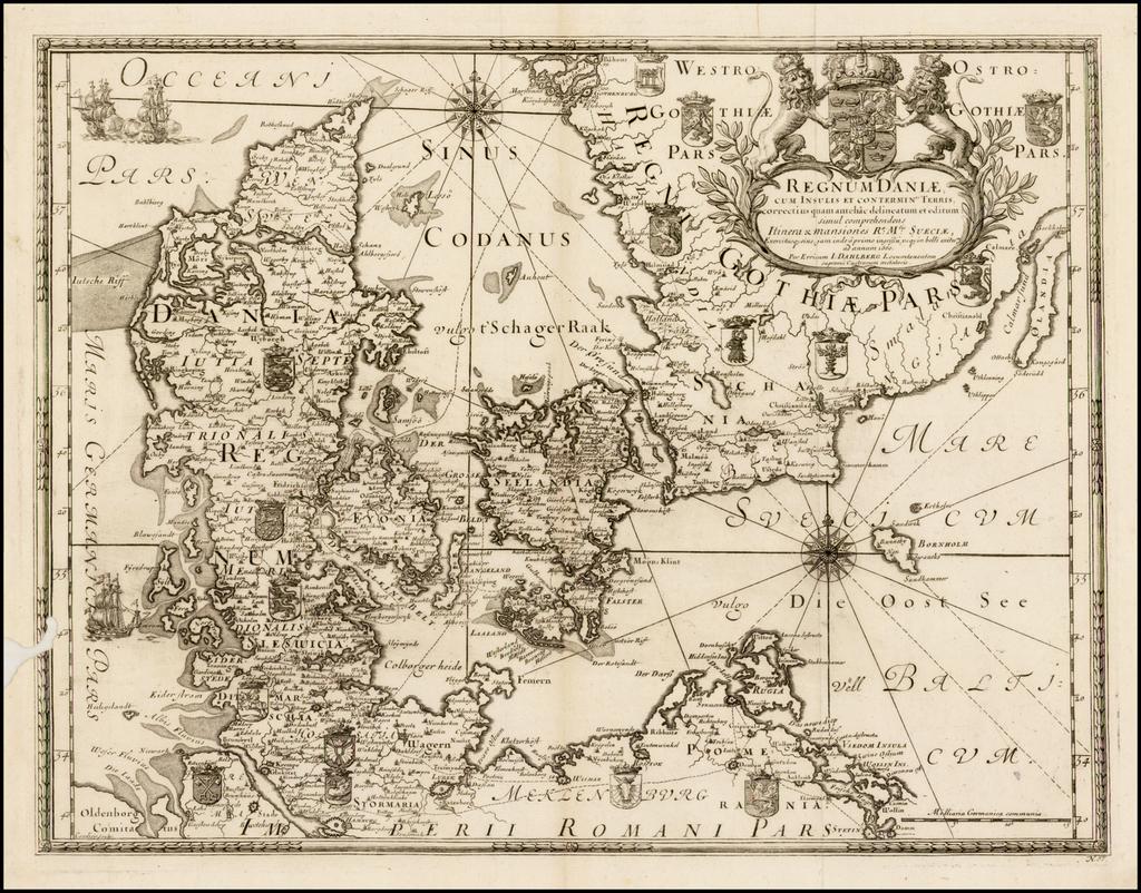 Regnum Daniae cum Insulis et Conterminis Terris, correctius quam antehac delineatum et editum: simul comprehendens Itinera & mansiones Ra: Mtis: Sueciae . . . 1660 By Erik J. Dahlberg