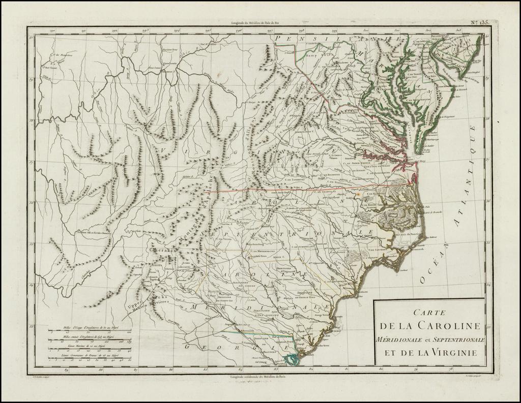 Carte De La Caroline Meridionale et Septentrionale et de La Virginie By Pierre Antoine Tardieu