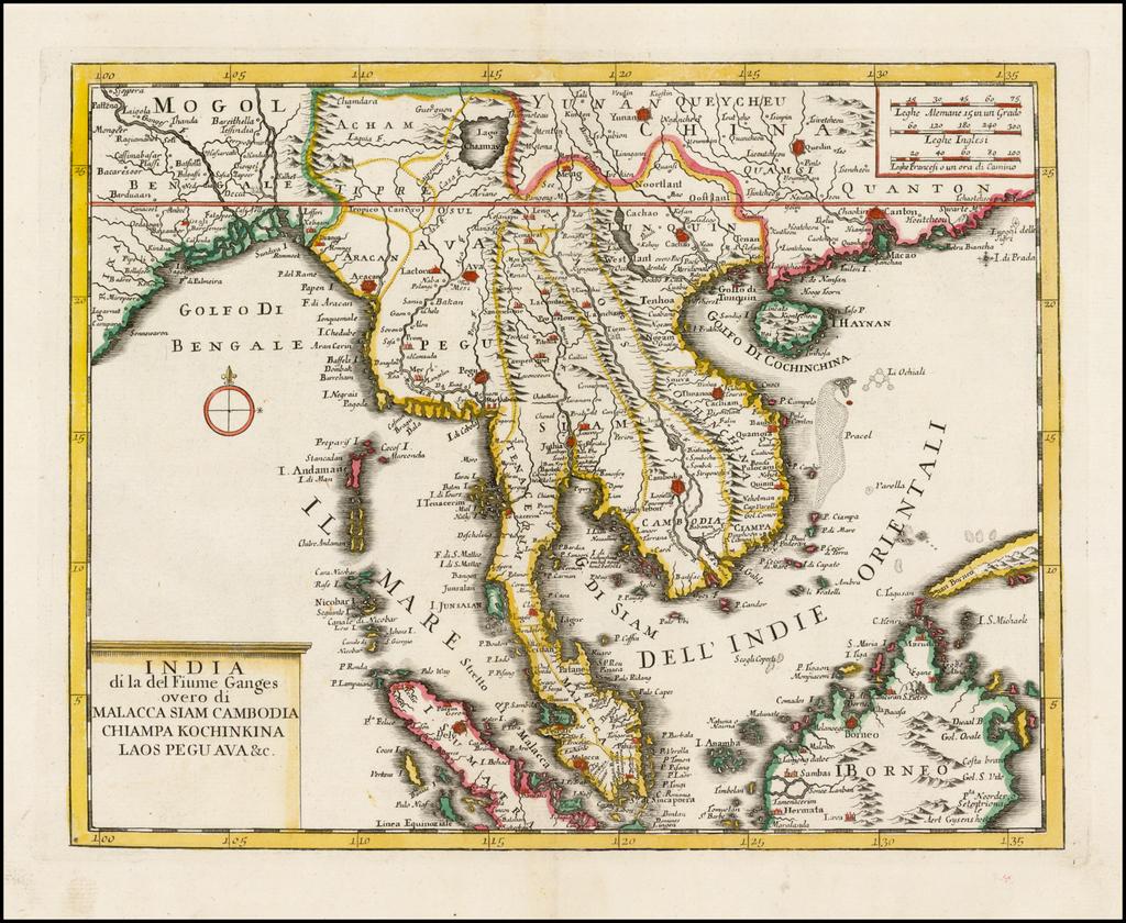India di la del Fiume Ganges overo di Malacca Siam Cambodia Chiampa Kochinkina Laos Pegu Ava &c. By Giambattista Albrizzi