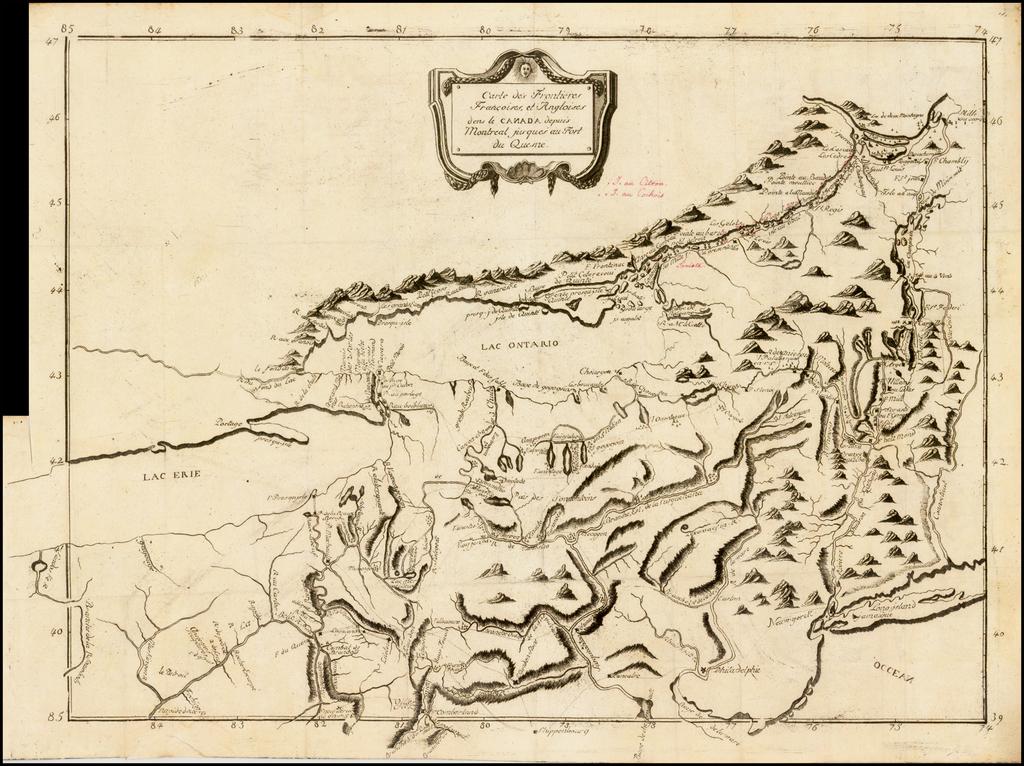 (French & Indian War Theater Map)  Carte des Frontieres Francoises, et Angloises dens le Canda depuis Montreal jusques au Fort du Quesne.  By Pierre Pouchot