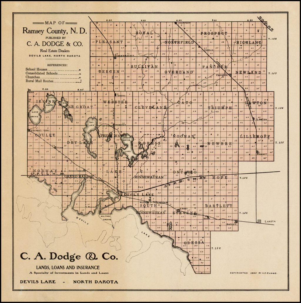 Map of Ramsey County, N.D. Published By C.A. Dodge & Co. Real Estate Dealers  Devils Lake, North Dakota. By Heber M. Creel
