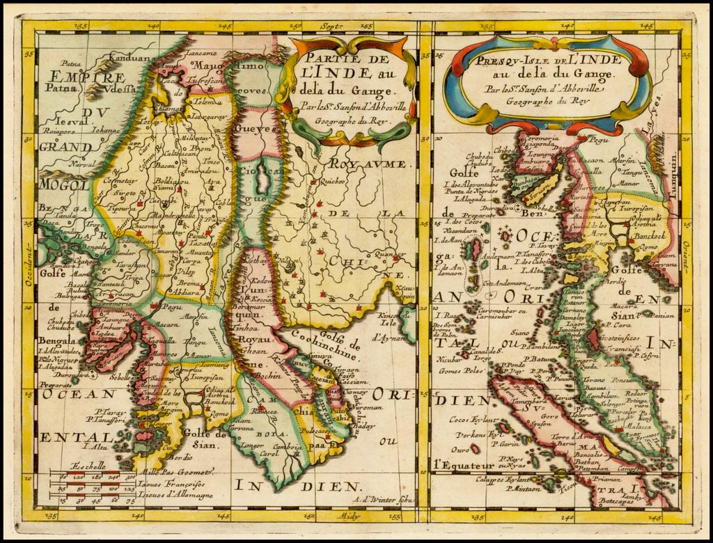 Partie De L'Inde au dela du Gange . . . (with ) Persqu-Isle de L'Inde a de la du Gange . . . (Southeast Asia, Malaysia, Indonesia, Sumatra, Singapore, etc.) By Nicolas Sanson