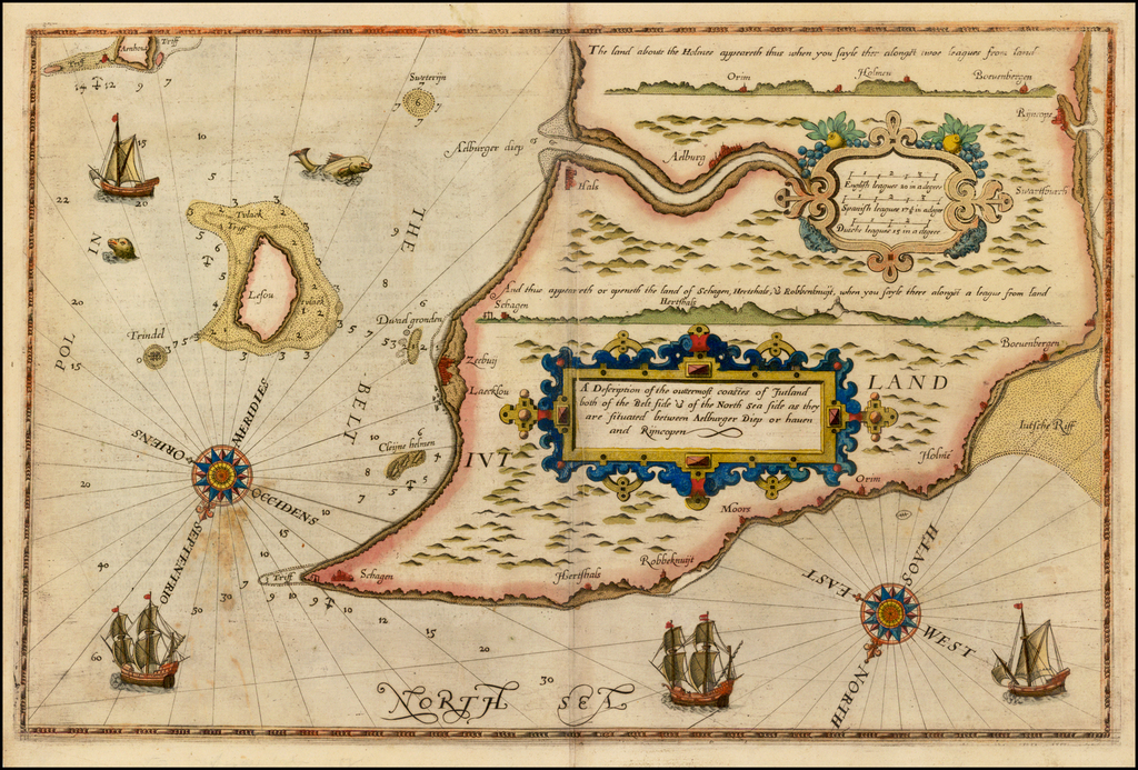 A Description of the outermost coastes of Jutland both of the Belt side & of the North Sea Side as they are situated between Aelburger Dietp or Haven and Rijncopen. By Lucas Janszoon Waghenaer