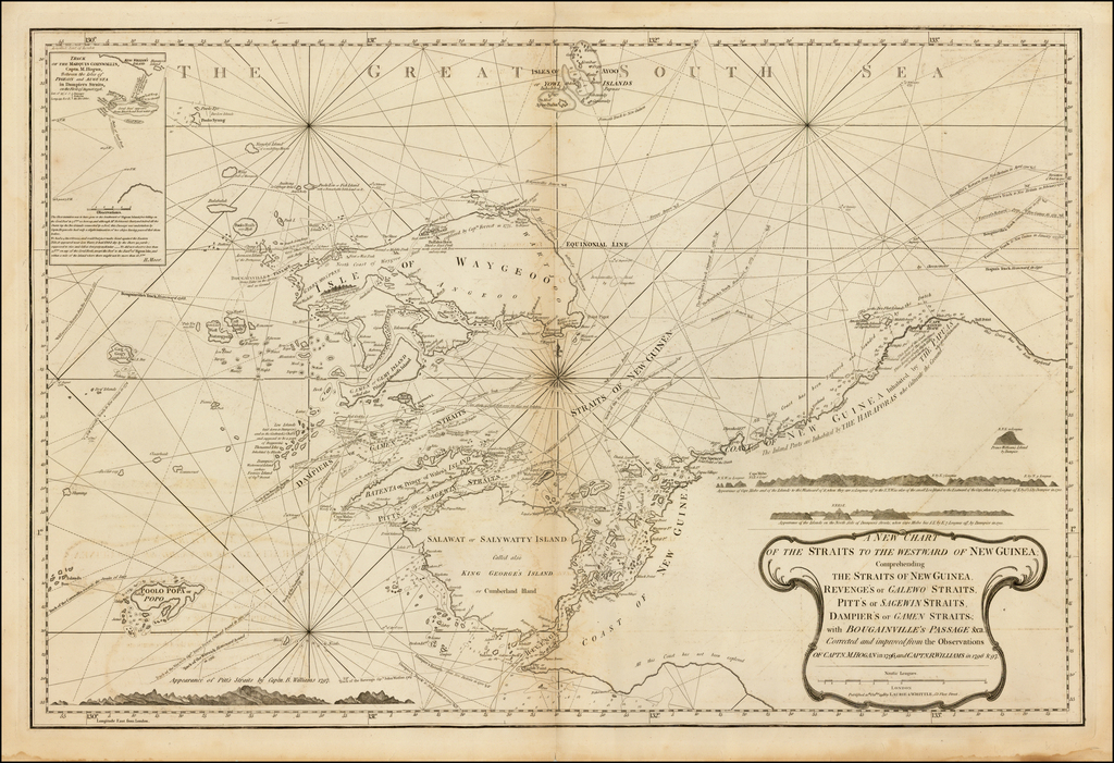 [Papua New Guinea, etc.] A New Chart of the Straits to the Westward of New Guinea; Comprehending The Straits of New Guinea, Revenge's or Galewo Straits, Pitt's or Sagewin Straits, Dampier's or Gamen Straits, with Bougainville's Passage . . . Captn. M. Hogan in 1796 and Captn.R. Williams in 1796 & 97.  By Richard Holmes Laurie  &  James Whittle