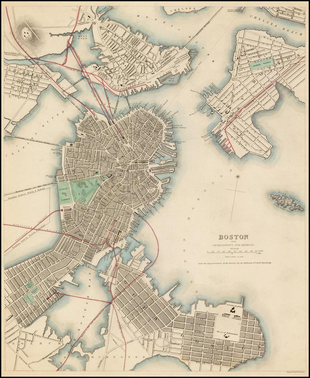 Boston with Charlestown and Roxbury. By SDUK