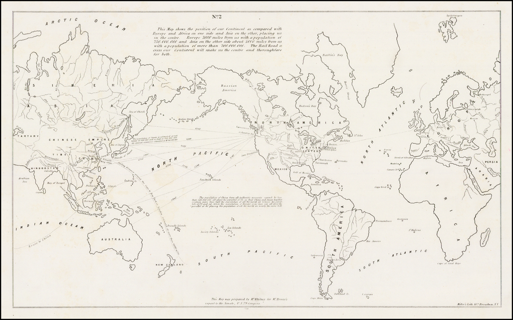 Map of the World Prepared to illustrate Whitney's Proposal