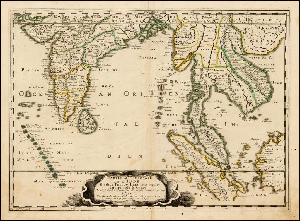 Partie Meridionale De L'Inde En deux Presqu'Isles l'une deca et l'autre Gange . . .1654 By Nicolas Sanson