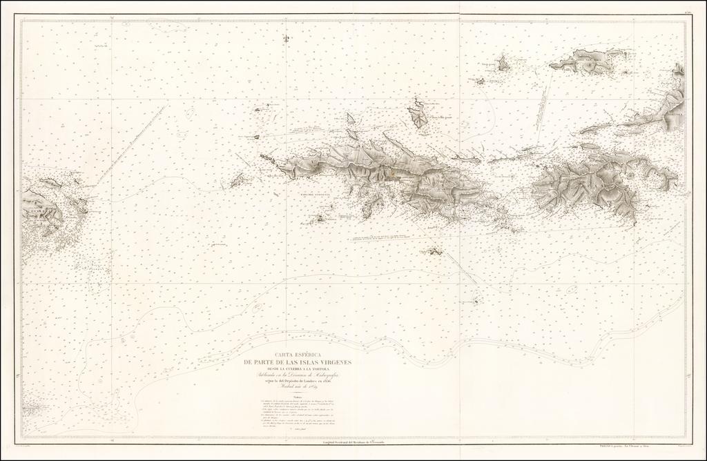 Carta Esferica De Parte De Las Islas Virgenes Desde La Culebra a La Tortola . . . 1859 By Direccion Hidrografica de Madrid