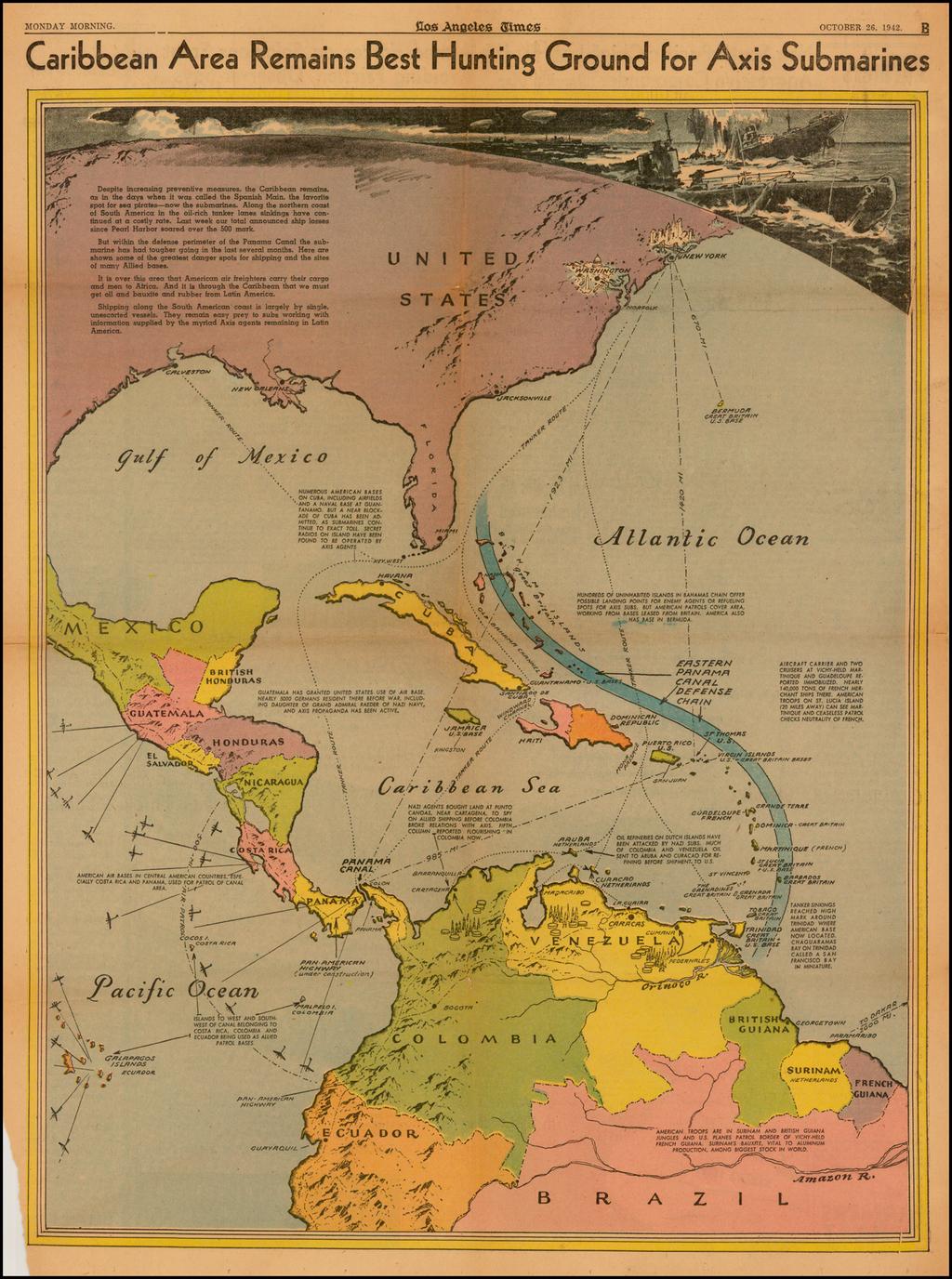 Map Of America Los Angeles.Caribbean United States Central America South America Caribbean