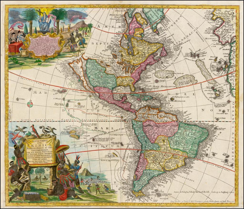 Novus Orbis Sive America Meridionalis et Septentrionalis . . . (California as an Island--Rare Probst edition) By Matthaus Seutter / Johann Michael Probst