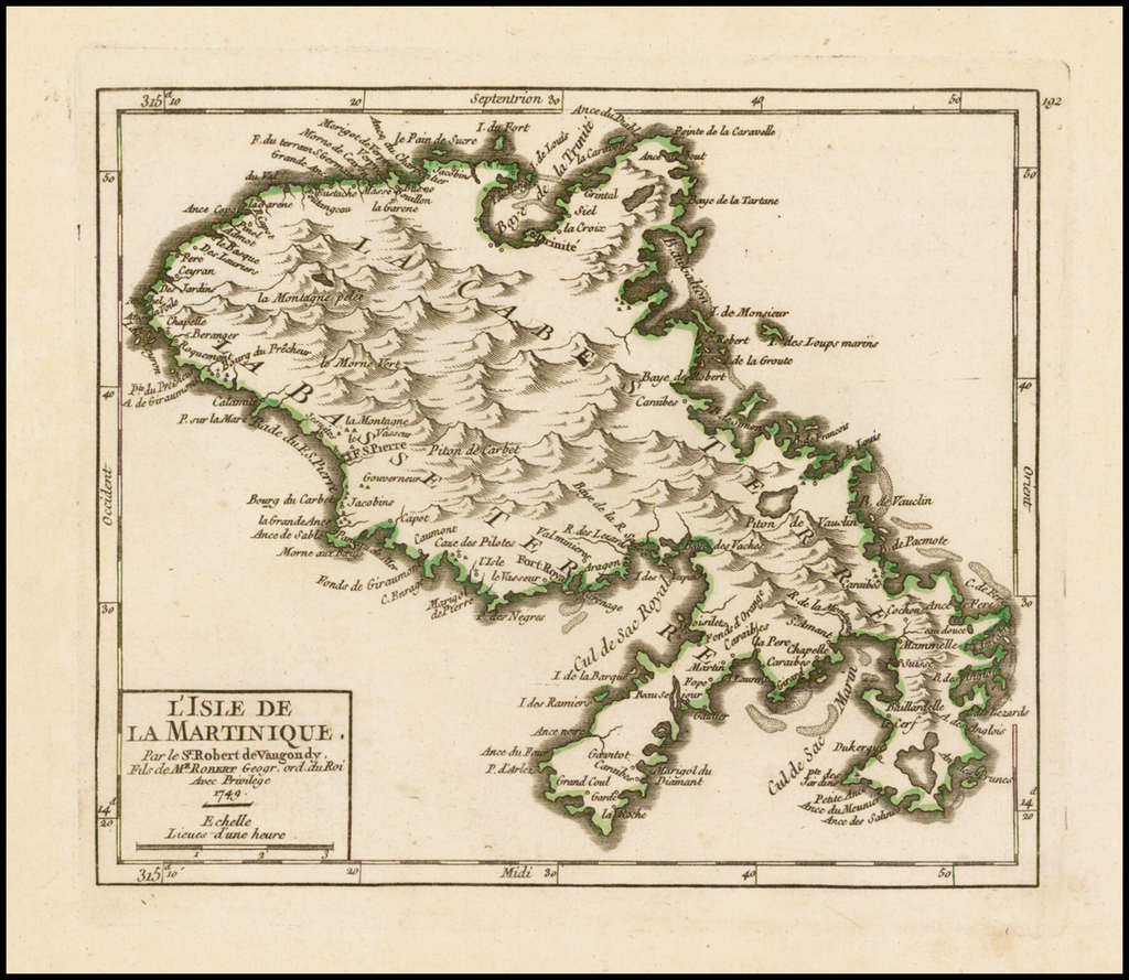 L'Isle De La Martinique . . . 1749 By Didier Robert de Vaugondy